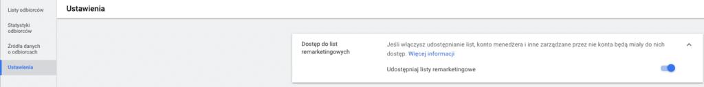 Widok list remarketingowych Google Ads
