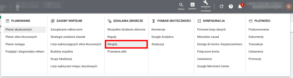 Automatyzacja Google Ads przy użyciu skryptów.